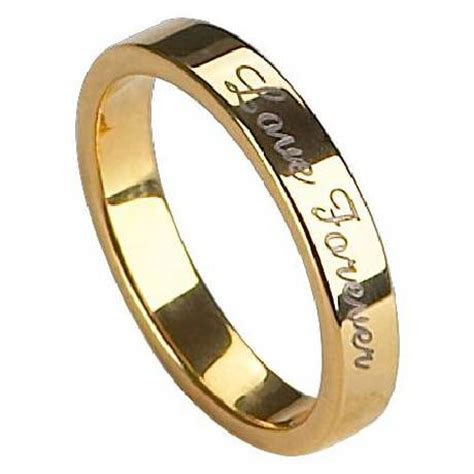 Mens Engraved Tungsten Wedding Ring   Gold Finish