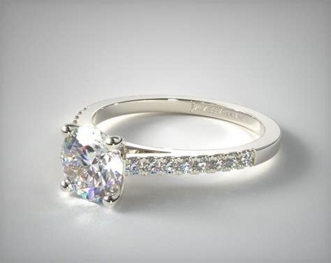 Petite Pave Cathedral Engagement Ring   14K White Gold
