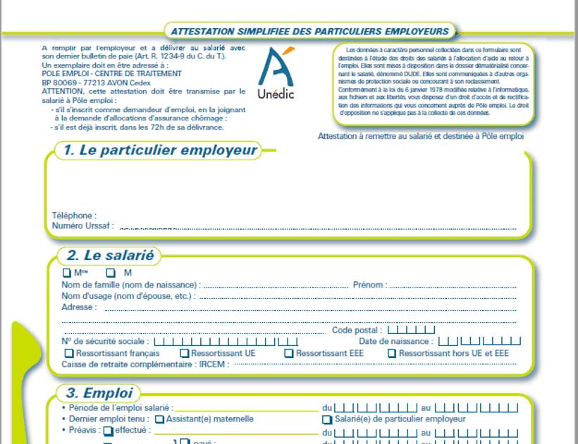 Pole emploi: Modele Attestation Employeur Pole Emploi