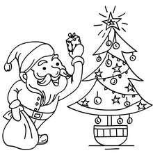 Dibujos Para Colorear Santa Claus Con Arbol De Navidad Es
