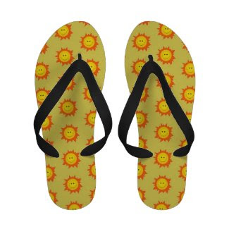 Happy Smiling Sun Pattern Flip-Flops