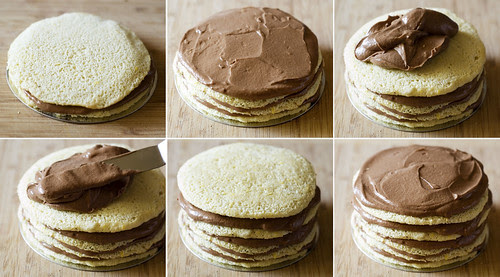 dobos torte - filling the layers