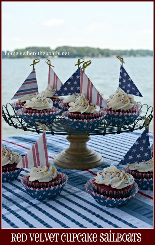 Red Velvet Cupcake Sailboats