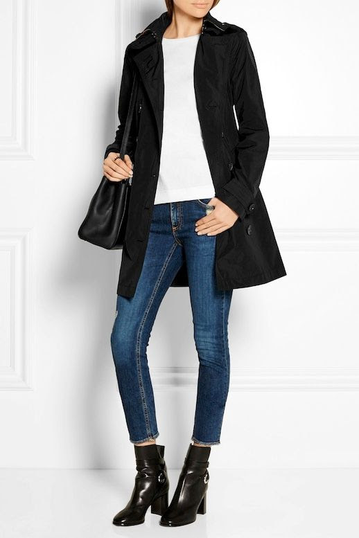 Le Fashion Blog Burberry Trench Coat White Tee Shirt Cropped Distressed Skinny Jeans Isabel Marant Black Leather Ankle Boots Via NAP