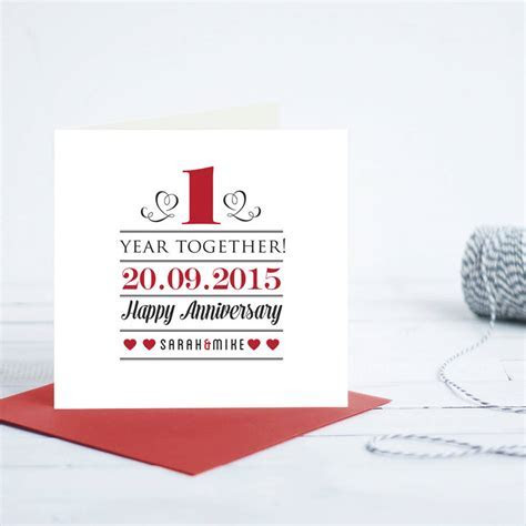 personalised 1st year anniversary card by quirky gift