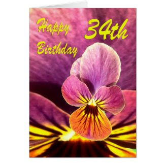 Happy 34th Birthday Flower Pansy Greeting Cards