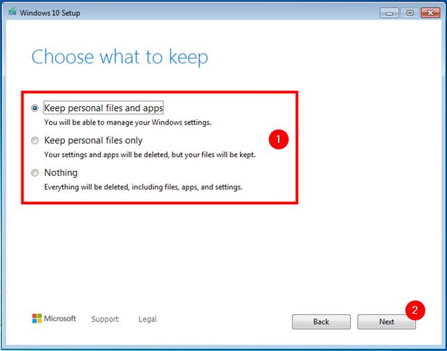 Elegir qué conservar al realizar una actualización de Windows 7 o 8.1 a Windows 10