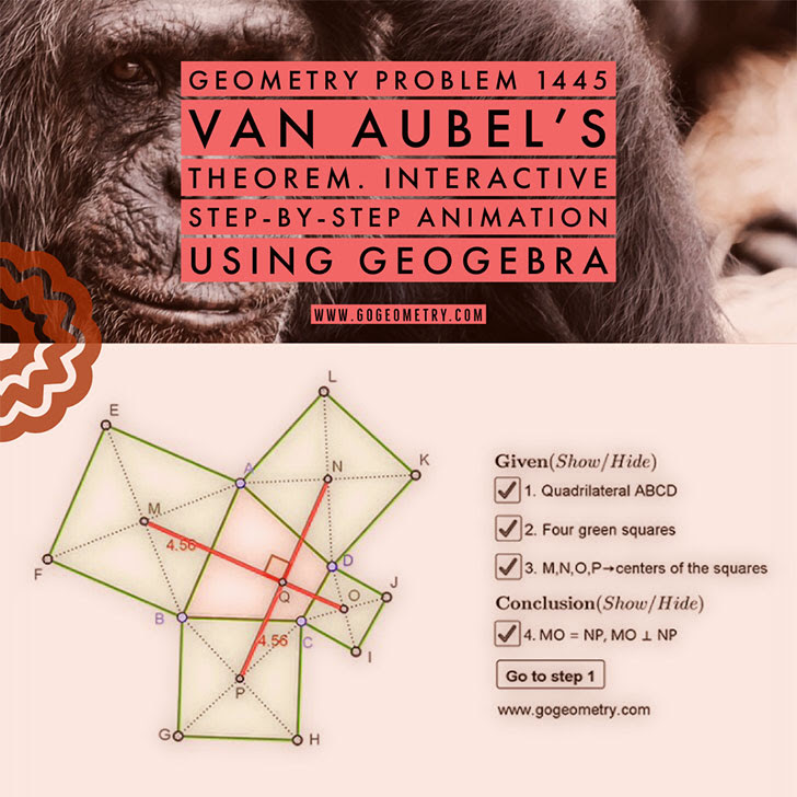 Dynamic Geometry Problem 1445: Van Aubel's theorem, Quadrilateral and Four Squares, Centers. Using GeoGebra.