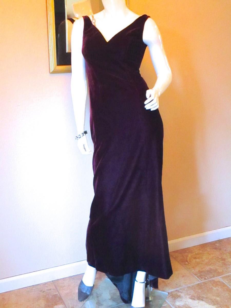Purple Evening Gown Vintage Escada Silk Velvet 1930s Style Formal Dress Art Deco Old Hollywood Fishtail Wedding Guest Red Carpet Xs 0 2 2595852 Weddbook