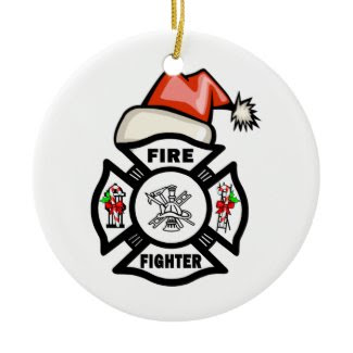 Firefighter Santa Claus ornament