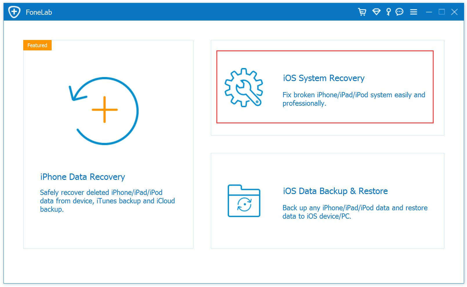 ios system recovery main page
