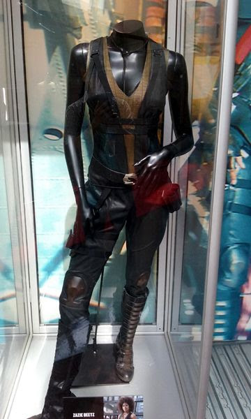 The 'Domino' costume worn by Zazie Beetz in DEADPOOL 2, on display at ArcLight Cinemas in Hollywood...on May 29, 2018.