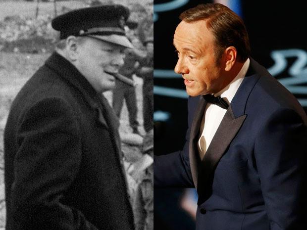 Winston Churchill durante visita a Caen, na Normandia, em 23 de julho de 1944, e Kevin Spacey na cerimônia do Oscar, em 2 de março de 2014 (Foto: AFP Photo/Reuters/Lucy Nicholson)