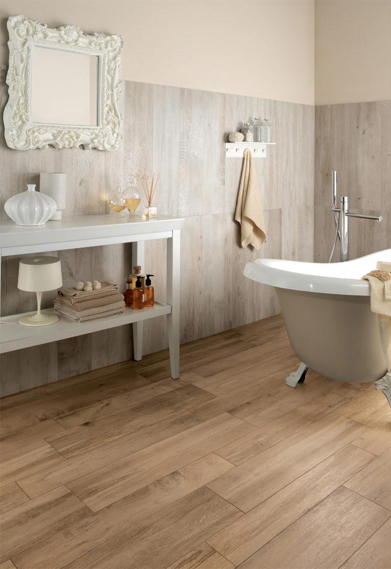 medium rough wooden floor tiles in bathroom | Interior ...