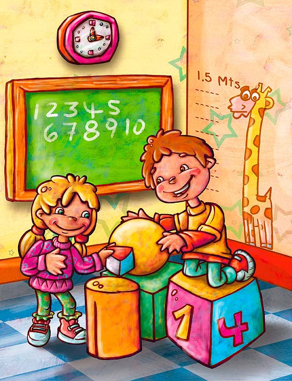 Ilustración para textos guía de matemáticas por Hache Holguín