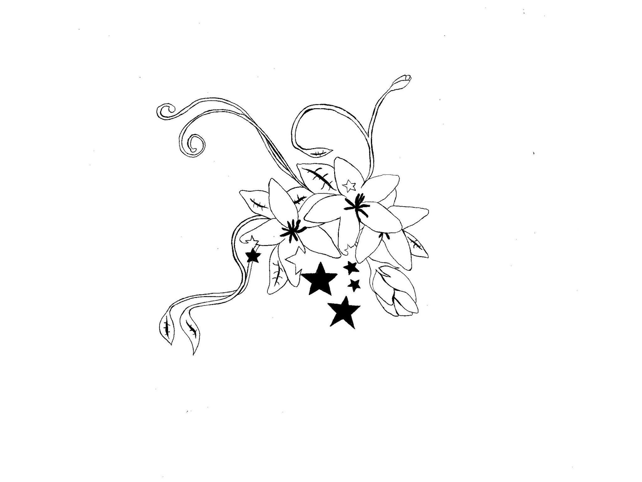 Black Stars And Orchid Tattoo Design