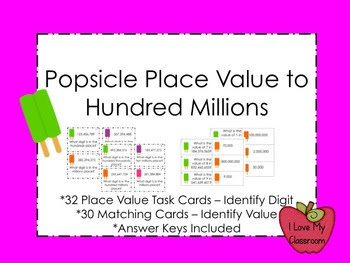 Popsicle Place Value Task Cards and Match Game (up to Hund