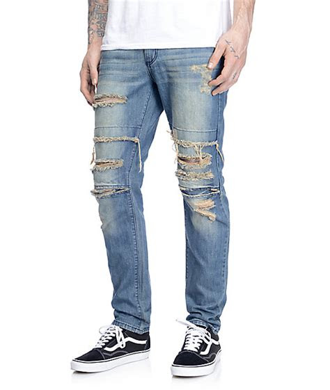 rustic dime dirty ripped knee jeans zumiez