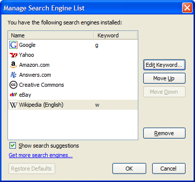 Manage Search engines dialog