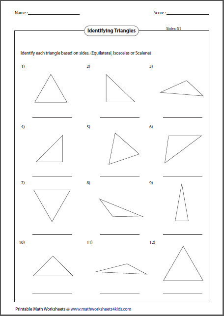 Isosceles and Equilateral Triangles Worksheet  Homeschooldressage.com