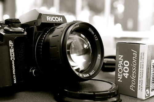 cosina 55mm f/1.2 and Ricoh xr-p