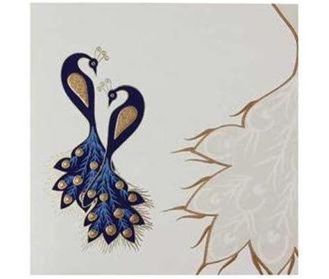 Indian Wedding Card In Cream And Golden With Peacock