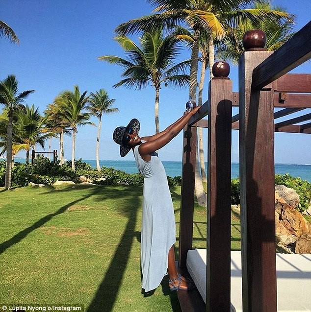 '#soundofmusicmoments': The talented 32-year-old actress has been sharing photos from her vacation including this one while hanging off an outdoor beach bed