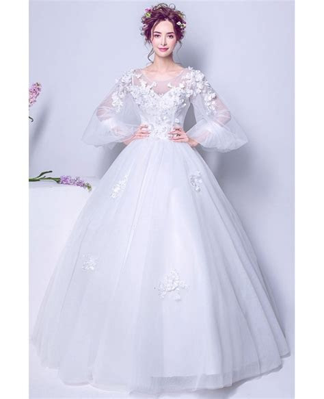 Puffy Sleeve Long White Floral Bridal Gown For 2019 Winter