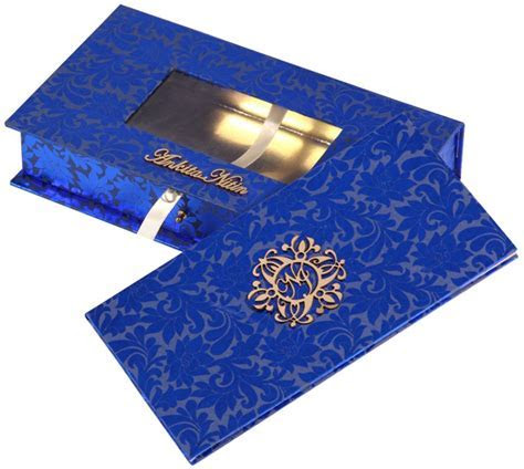 Wedding Card Box in Royal Blue and Golden with Sweet Box