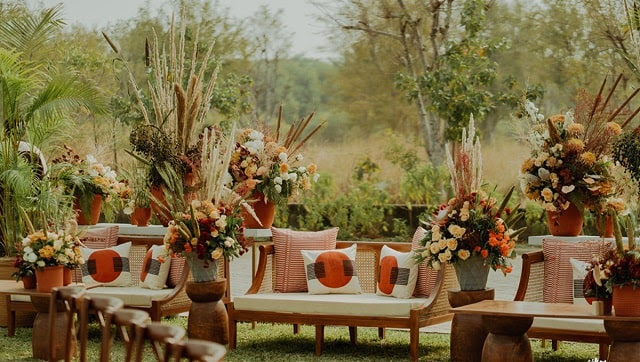 Narain's weddings are simple, small, and with everything from the flowers to the décor to the food sourced within a 50-mile radius
