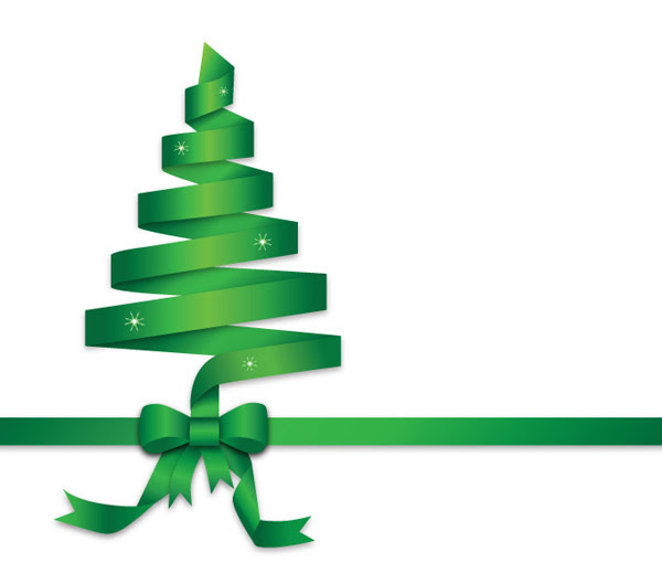Pita Hijau Pohon Natal Ilustrasi-vektor Natal-vektor
