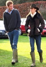 Kate Middleton and Prince Harry wearing Le Chameau green rubber boots