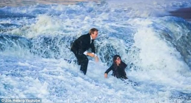 Wash-out: The couple were swept back to Laguna Beach by the huge wave