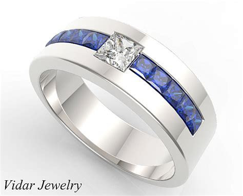 Men Wedding Band,Unique Wedding Bands,Blue Sapphire
