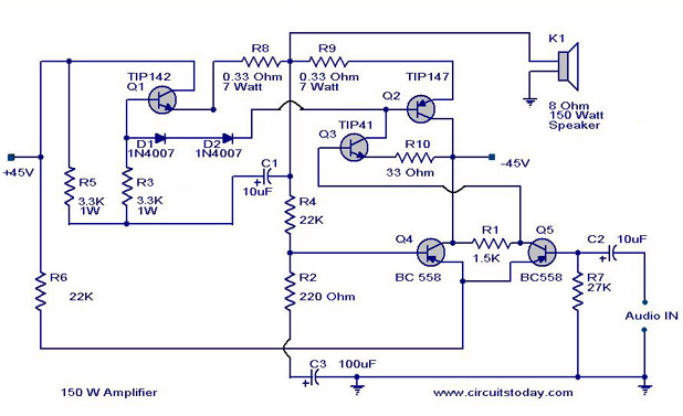 ahuja 250w amplifier circuit diagram