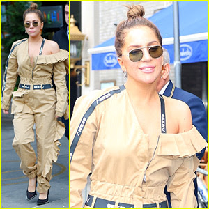 Lady Gaga Goes for Gold in a Jumpsuit While in New York