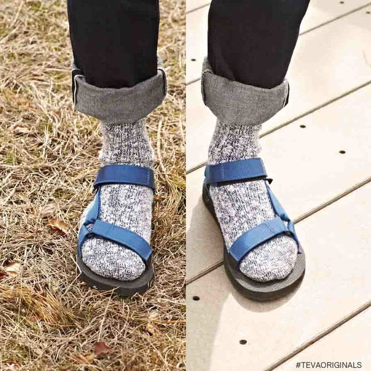 Pair wool socks and Teva sandals for an all-weather look. # ...