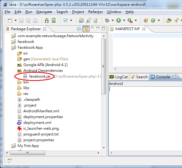 Eclipse Android Dependencies facebook.jar in Package Explorer