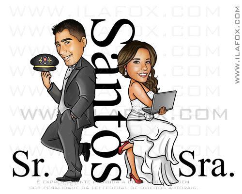 Caricatura casal, caricatura noivos sr e sra smith, Santos, by ila fox