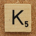 Wood Scrabble Tile K