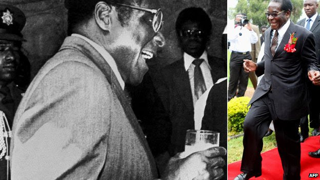 L: Robert Mugabe laughing while holding a glass in 1983 R: Robert Mugabe in 2009, with a skip in his step