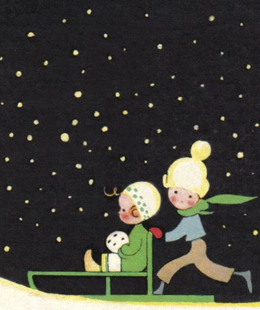 Detail from vintage Christmas card by Swedish artist Einar Nerman.