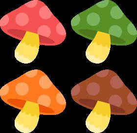 きのこ4色の無料ベクターイラスト素材 Picaboo ピカブー