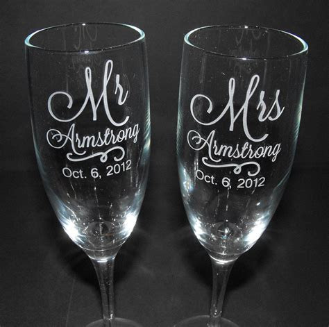 Personalized Wedding Toasting Glasses   CUSTOM ENGRAVED