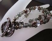 Saki Silver Shibuichi, Rutilated Green Amethyst, Swarovski Crystals, Antiqued Brass & Antiqued Copper-Flora Bracelet