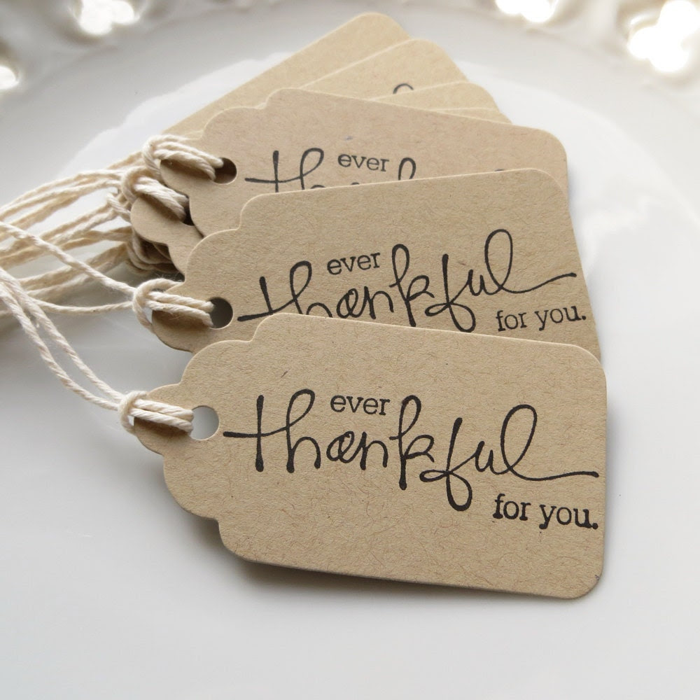 Thankful for You Tags Gift Favor Tag - Set of 8 - Custom Colors Available - thanksgiving decor tags
