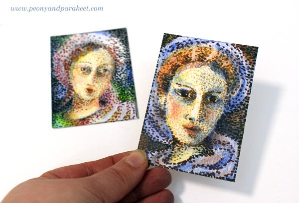 Pointillism A Quick Way Step By Step Peony And Parakeet