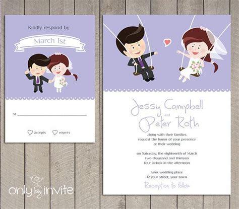 Cartoon Bride Groom on the Swings Wedding Invitation
