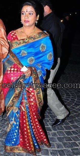 Celebrity in Blue Banarasi Saree   Saree Blouse Patterns
