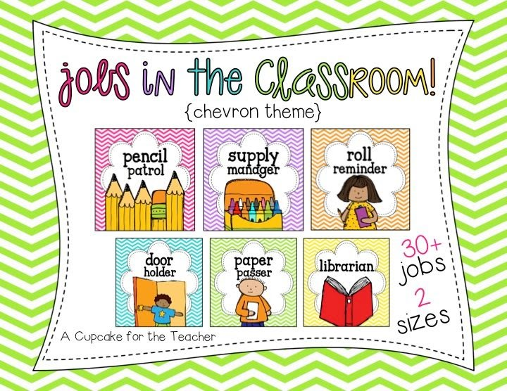 Classroom Design Jobs ~ Jobs in the classroom a cupcake for teacher